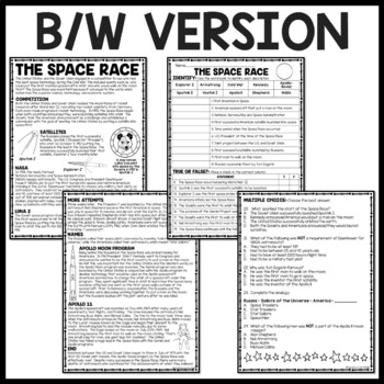 Cold War- Space Race Reading Comprehension Worksheet, Soviet Union