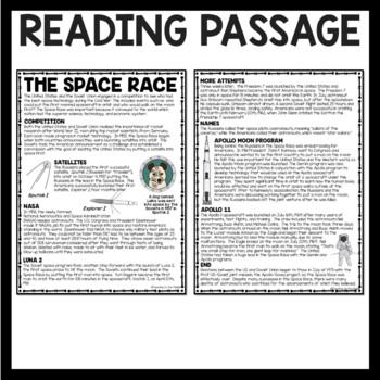 Cold War Space Race Reading Comprehension Worksheet