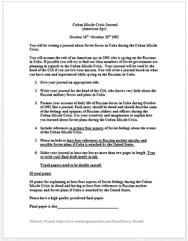 Cold War Spies: Worksheet and Cuban Missile Crisis Journals