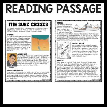 Cold War- Suez Crisis Reading Comprehension Worksheet, Egypt, Israel