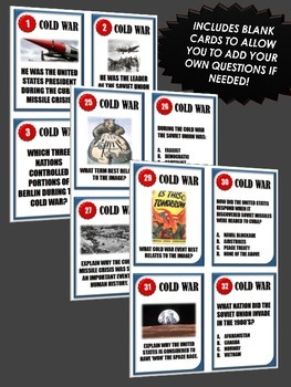 Cold War - Task Cards (52 Cold War Task Cards with Answer Sheet)