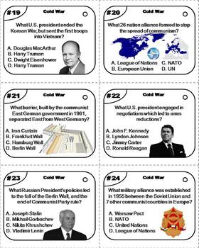 Cold War Task Cards: Leaders and Terms