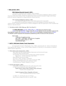 Cold War Timeline American History III Outline Lecture