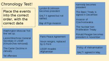 Cold War Timeline Test Quiz: Events between 1961 - 1980