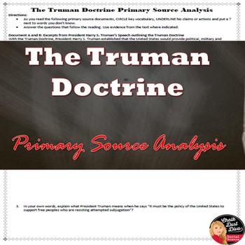 Cold War - Truman Doctrine Primary Source Analysis Activity
