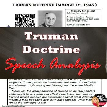 Cold War - Truman Doctrine Speech Analysis – QR Code (U.S. History)