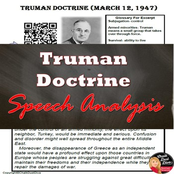 Cold War - Truman Doctrine Speech Analysis – QR Code (U.S.