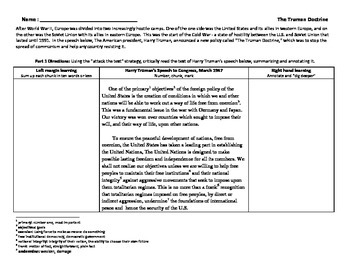 Cold War - Truman Doctrine Speech - Attack the text literacy strategy