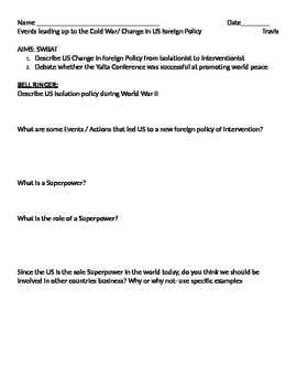 Cold War - US from Isolation to intervention Student Note Page