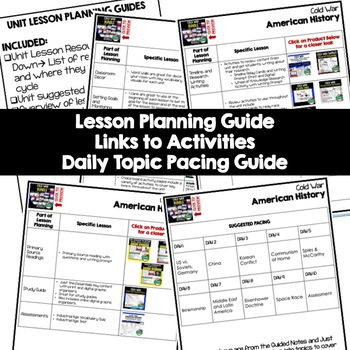 Cold War Unit Lesson Plan Guide, American History BACK TO SCHOOL