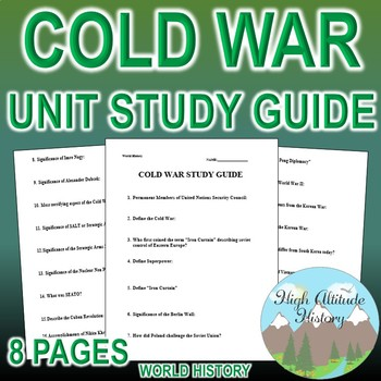 Cold War Unit Study Guide (U.S. History / World History)
