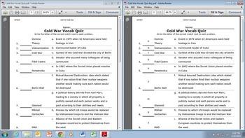Cold War Vocab Quiz