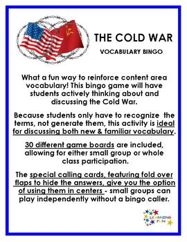Cold War Vocabulary Bingo