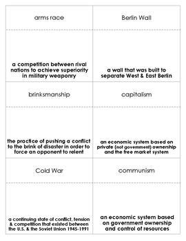 Cold War Vocabulary Bingo