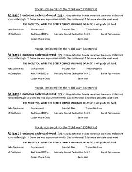 Cold War Vocabulary Homework or Classwork