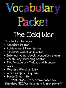 Cold War Vocabulary Packet