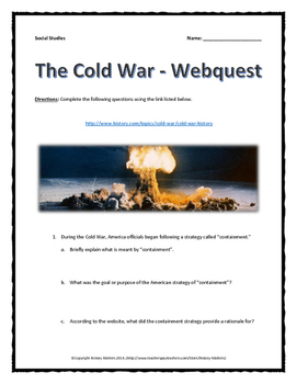 Cold War - Webquest with Key (24 Questions from history.com)