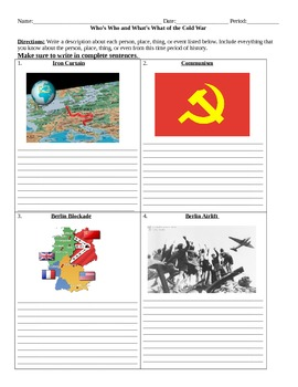 Cold War: Who's Who and What's What Assignment