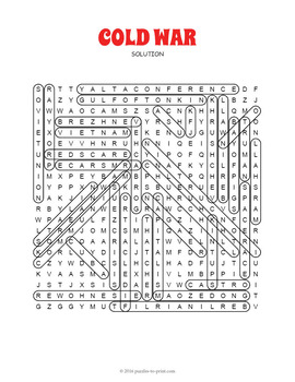 Cold War Word Search - Cold War Activity