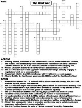 Cold War Worksheet Crossword Puzzle By Science Spot Tpt