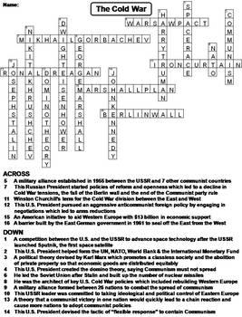 Cold War Worksheet/ Crossword Puzzle