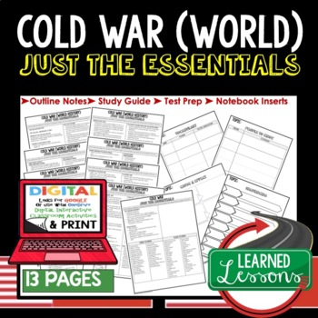 Cold War World History Outline Notes JUST THE ESSENTIALS Unit Review