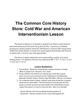 Cold War and American Interventionism Lesson (Dossiers)