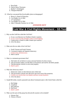 Cold War and Civil Rights Movement Test and Answer Key