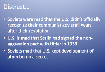 Cold War fill-in notes