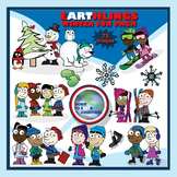 Winter Clip Art Package - Cold Weather Kids - 75 images