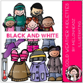 Cold Weather clip art - Kidlettes - BLACK AND WHITE- by Melonheadz