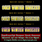Cold Winter Winds Breezes Word Art Template PSD Transparen