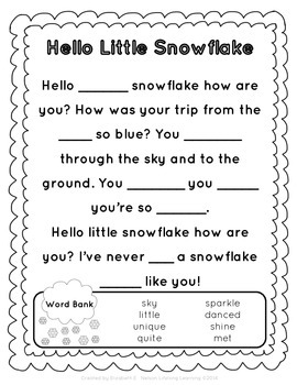 Hello Little Snowflake: Poem + Writing Activity