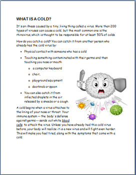 Cold and Flu Information and Prevention. Lesson, Activities