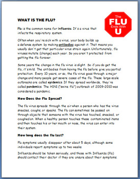 Health - Cold and Flu in Teens- 3 activities
