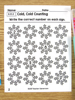Counting from Anywhere Winter Worksheet- K.CC.2