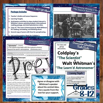 Song Lyrics Coldplay & Walt Whitman Poetry Compare & Contrast Middle & High