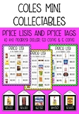 Coles Mini Collectables Price Lists and Price Tags