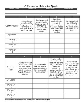 Collaboration Rubrics for Partners, Triads, and Quads