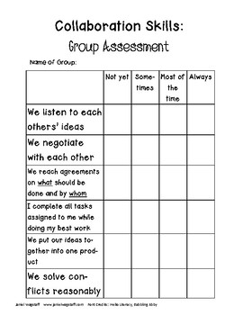Collaboration Rubrics for Self-Assessment and Group Assessment, 4th and up
