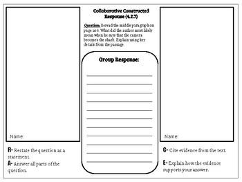 Collaborative Constructed Response Grade 4 Unit 2 (HMH Journeys)