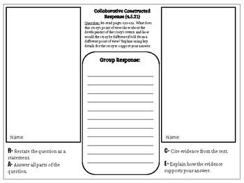 Collaborative Constructed Response Grade 4 Unit 5 (HMH Journeys)
