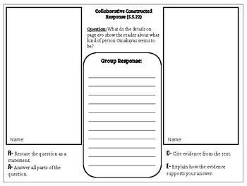Collaborative Constructed Response Grade 5 Unit 5 (HMH Journeys)