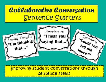 Collaborative Conversation Sentence Starter Posters
