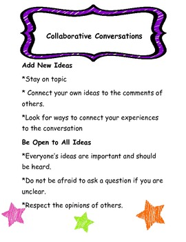 Collaborative Conversations 2 Poster/Anchor Chart-Reading Wonders