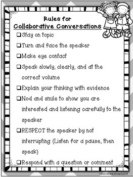 Collaborative Conversations FREEBIE {Rules and Recording Sheet}