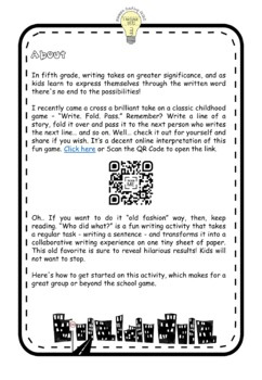 FREEBIE Collaborative Fold Over Sentence Story/ Subject and Predicate Game