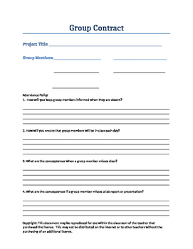 Collaborative Group Contract for Science Project Based Learning
