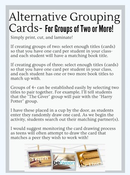 Collaborative Grouping Cards for Creating Groups- Elementary Level