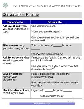Collaborative Groups and Accountable Talk